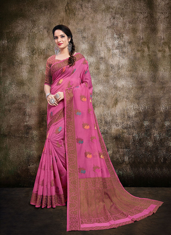 Dial N Fashion Pink  Designer Party Wear Banarasi Cotton Silk Saree