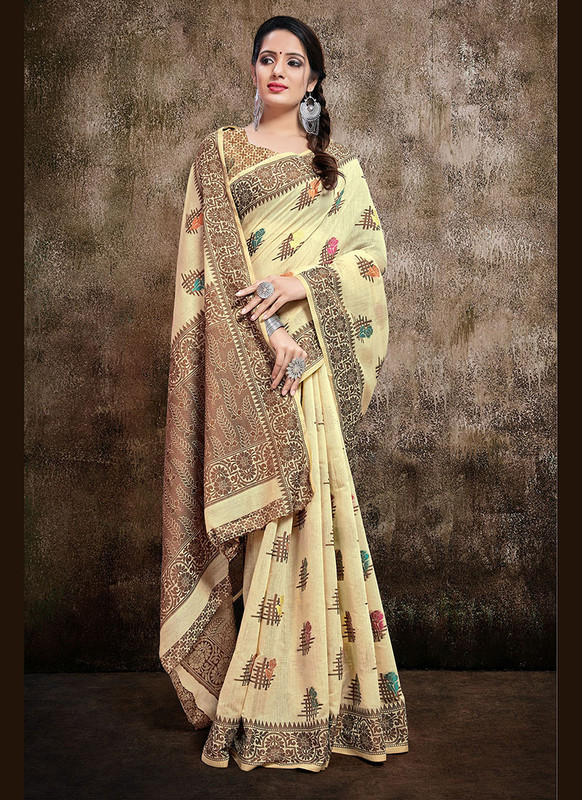 Dial N Fashion Cream  Designer Party Wear Banarasi Cotton Silk Saree