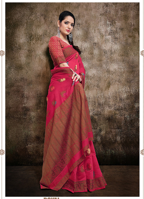 Dial N Fashion Rani Pink  Designer Party Wear Banarasi Cotton Silk Saree