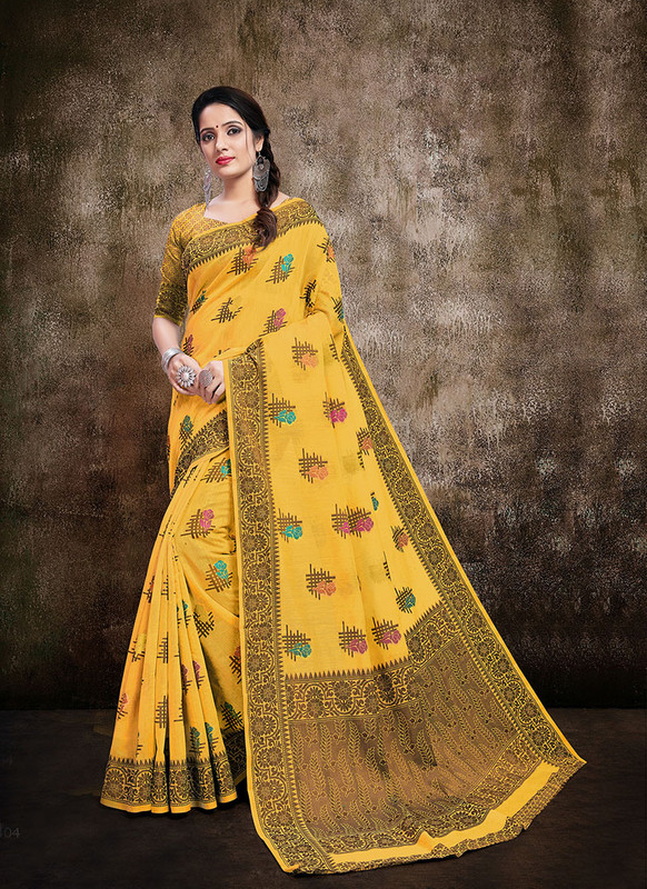 Dial N Fashion Yellow  Designer Party Wear Banarasi Cotton Silk Saree