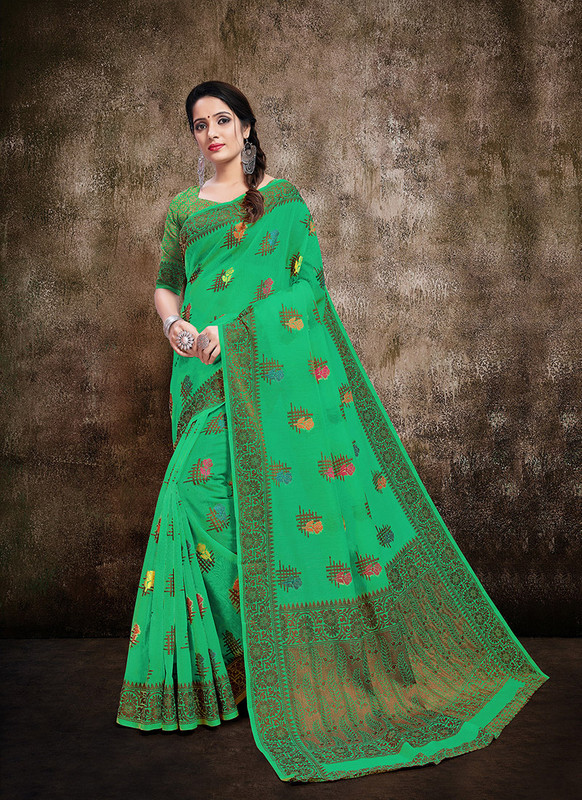 Dial N Fashion Green  Designer Party Wear Banarasi Cotton Silk Saree