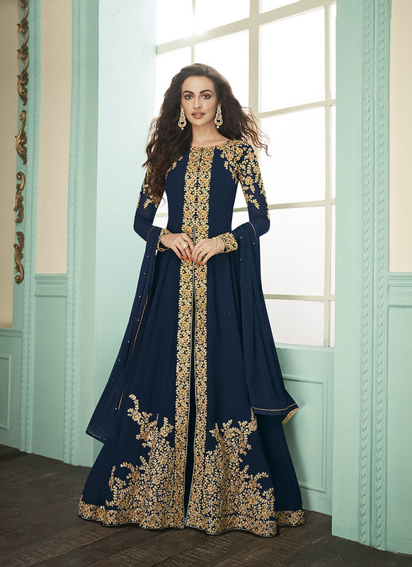 Dial N Fashion Navy Blue Heavy Embroidred Designer Real Georgette Suit