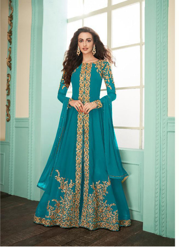 Dial N Fashion Sky blue Heavy Embroidred Designer Real Georgette Suit