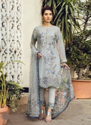 Dial N Fashion Sea Green Heavy Embroidred Designer Pure Georgette Salwar Suit