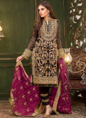 Dial N Fashion Black Heavy Embroidred Designer Georgette Pakistani Style Suit