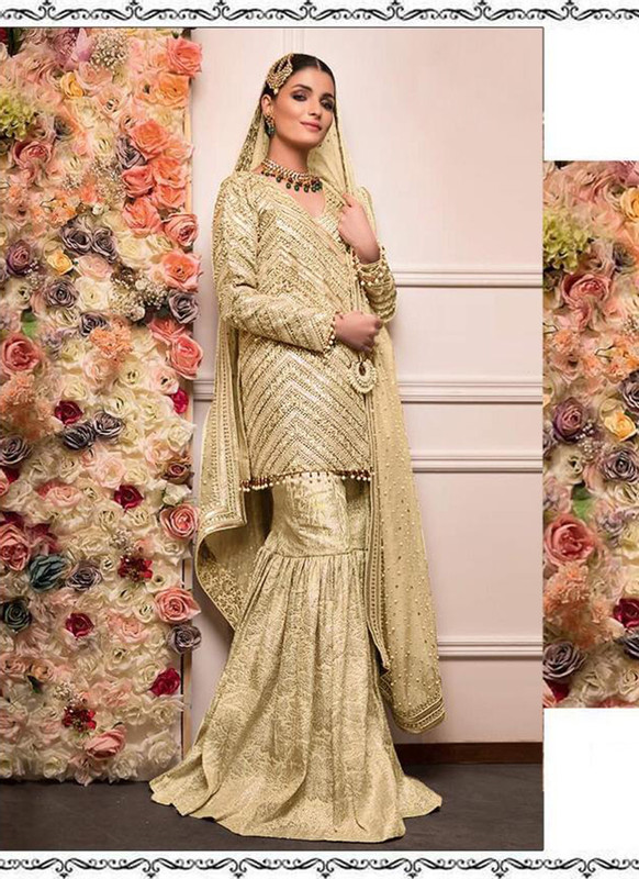 Dial N Fashion Gold Heavy Embroidred Designer Foux Georgette Pakistani Style Sharara Suit