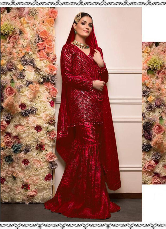 Dial N Fashion Red Heavy Embroidred Designer Foux Georgette Pakistani Style Sharara Suit