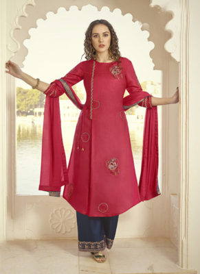 Dial N Fashion Onion Pink Designer Party Wear Plazzo Style Salwar Suit