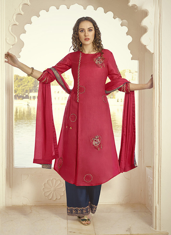 Dial N Fashion Red Designer Party Wear Plazzo Style Salwar Suit