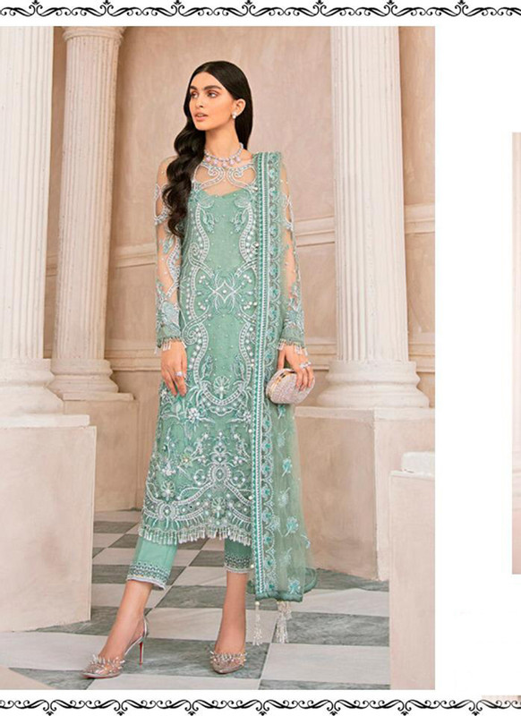 Dial N Fashion Sea Green Heavy Designer Party Wear Salwar Suit