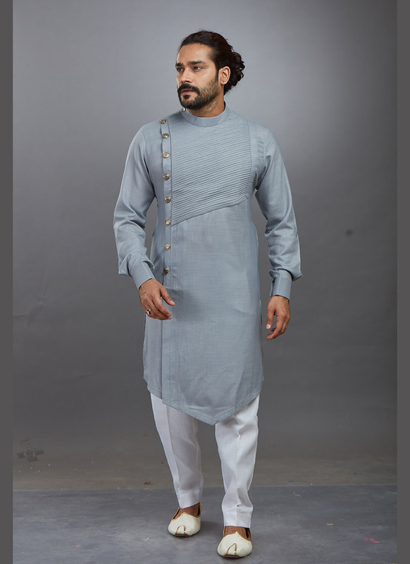 Dial N Fashion Grey Readymade Kurta Pajama