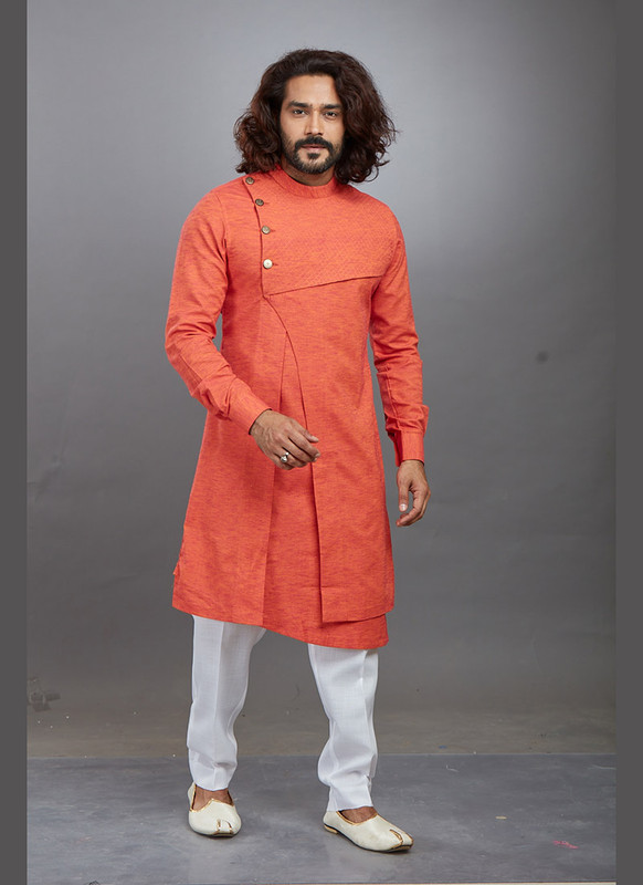 Dial N Fashion Orange Readymade Kurta Pajama