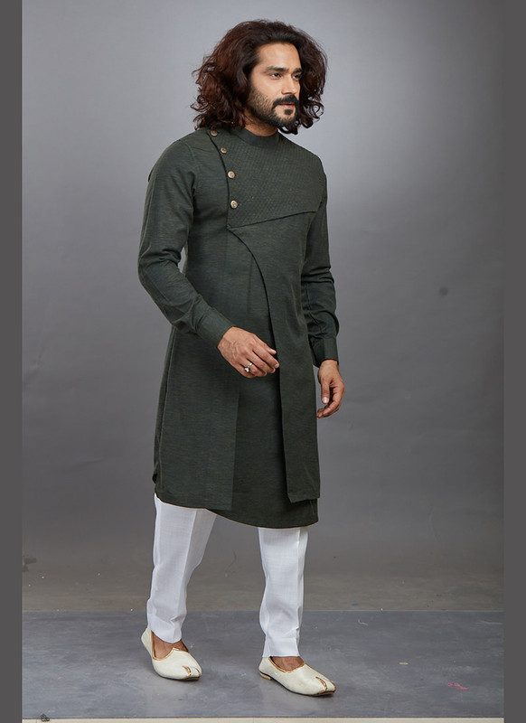 Dial N Fashion Mehndi Green Readymade Kurta Pajama