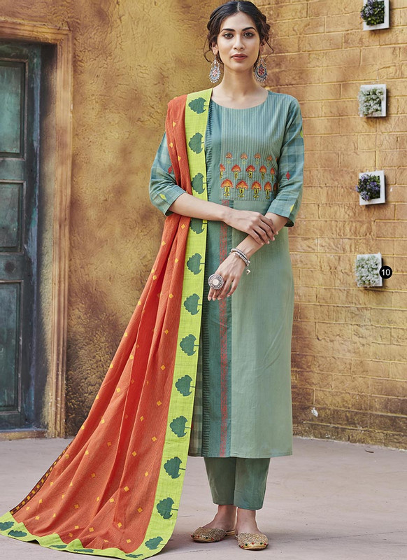 Dial N Fashion D. Green Designer Readymade Party Wear Salwar Suit