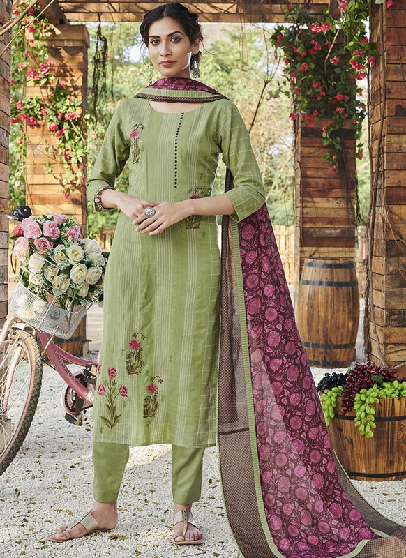 Dial N Fashion Green Designer Readymade Party Wear Salwar Suit