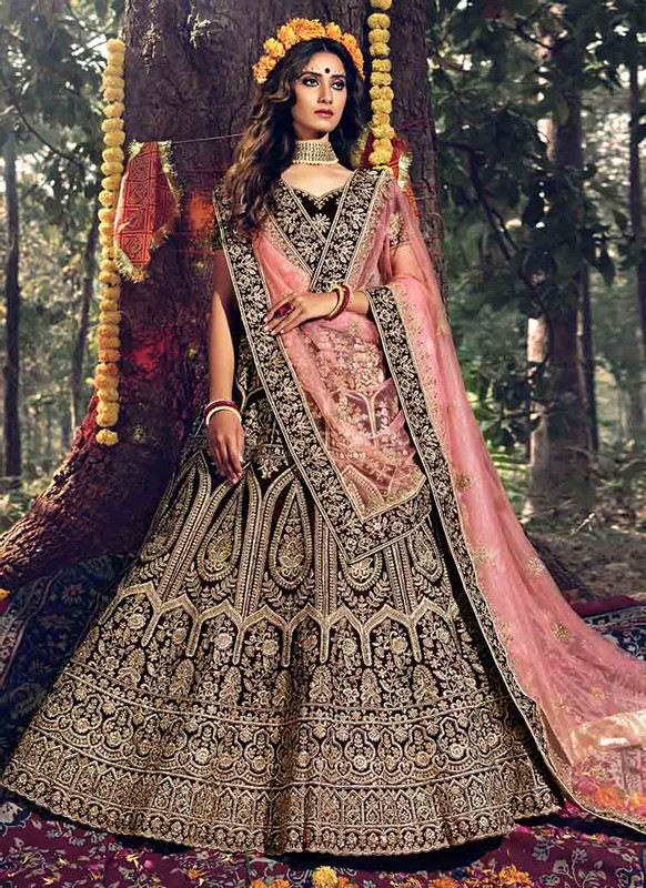 Dial N Fashion Maroon Heavy Designer Wedding Wear Lehenga Choli