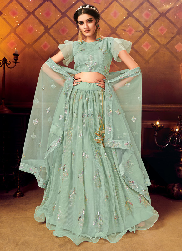 Dial N Fashion Green Panvi Designer Party Wear Lehenga Choli