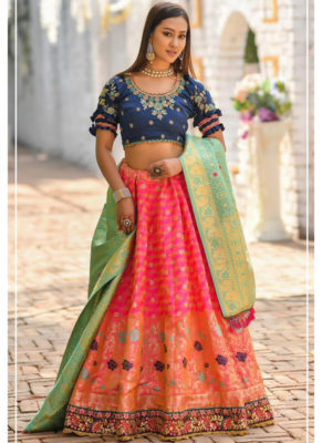 Kessi Peafowl Orange Banarasi Silk Resham Work Designer Lehenga Choli