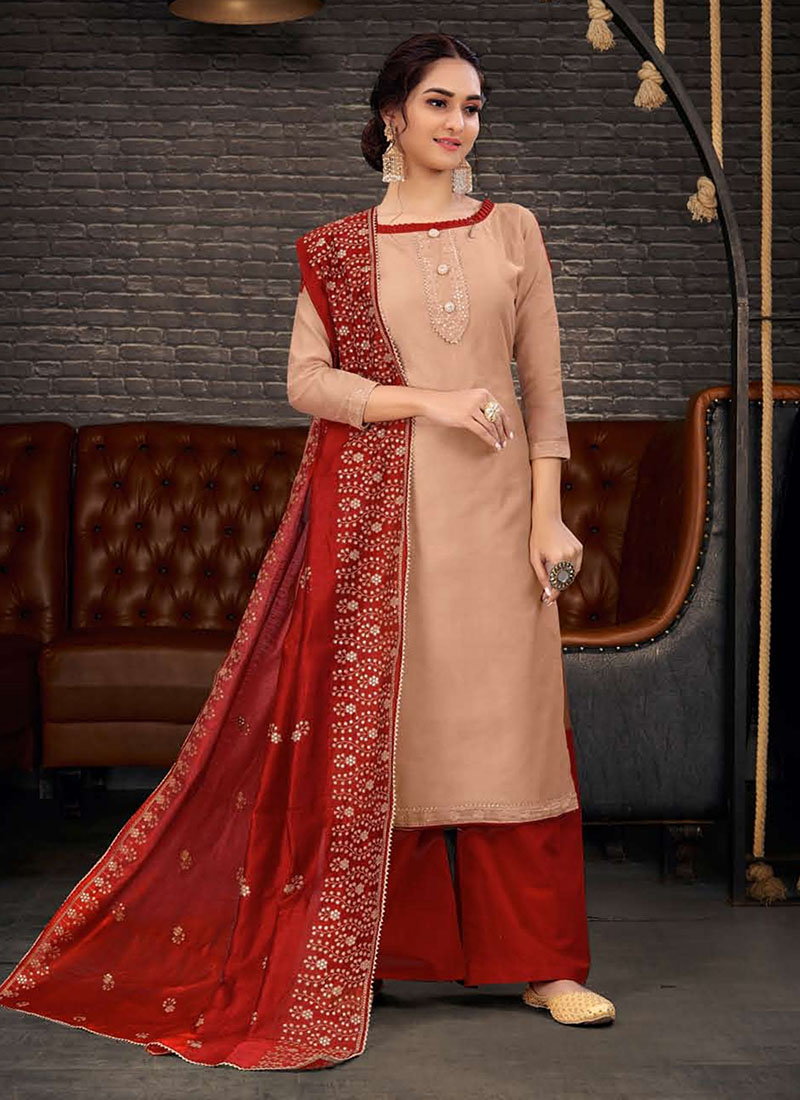 Dial N Fashion Chanderi Party Wear Beautiful Churidar Salwar Kameez