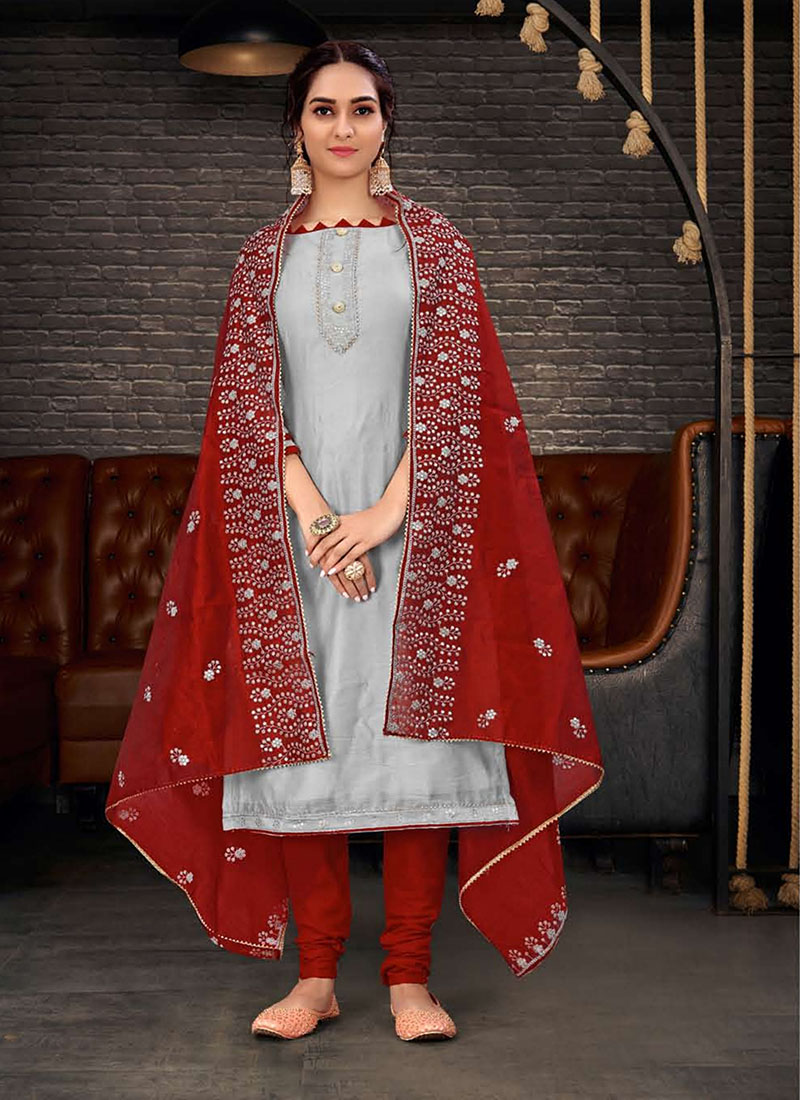 Dial N Fashion Chanderi Party Wear Graceful Churidar Salwar Kameez