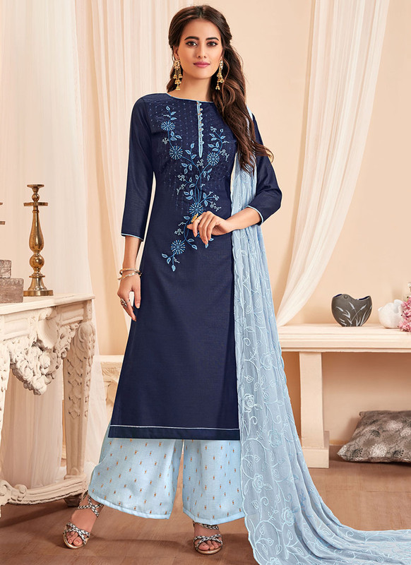 Dial N Fashion Blue Latest Designer Party Wear Soft Cotton Slub Salwar Suit