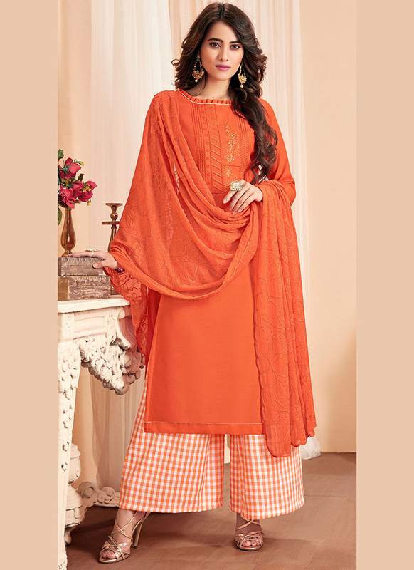 Dial N Fashion Orange Latest Designer Party Wear Soft Cotton Slub Salwar Suit
