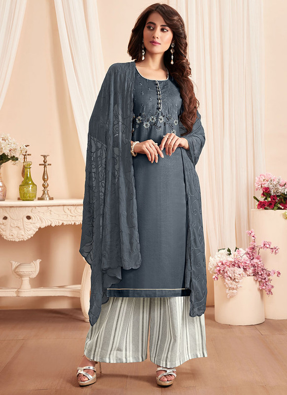 Dial N Fashion Grey Latest Designer Party Wear Soft Cotton Slub Salwar Suit