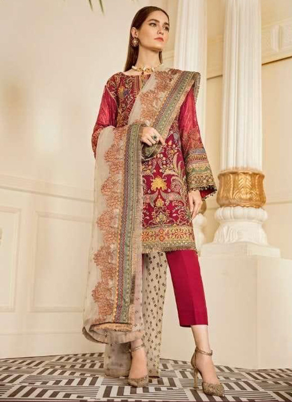 Dial N Fashion Dark Pink Designer Party Wear Pakistani Style Salwar Suit
