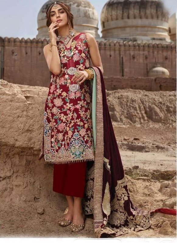Dial N Fashion Red Designer Party Wear Pakistani Style Salwar Suit