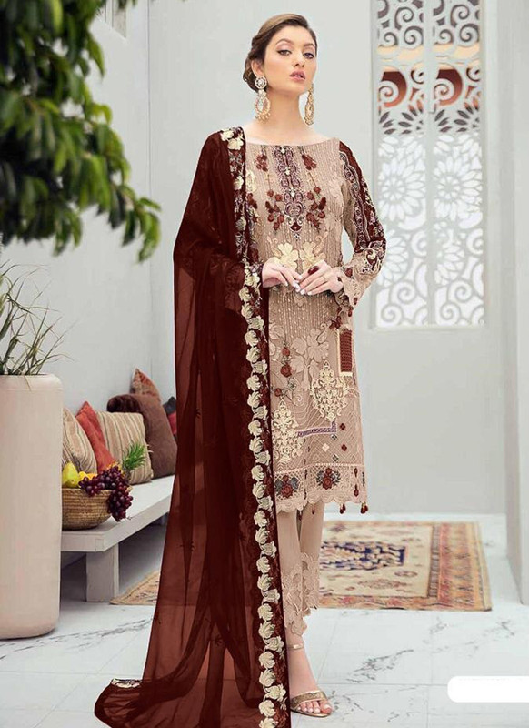 Dial N Fashion Beige Designer Party Wear Butterfly Net Pakistani Style Salwar Suit