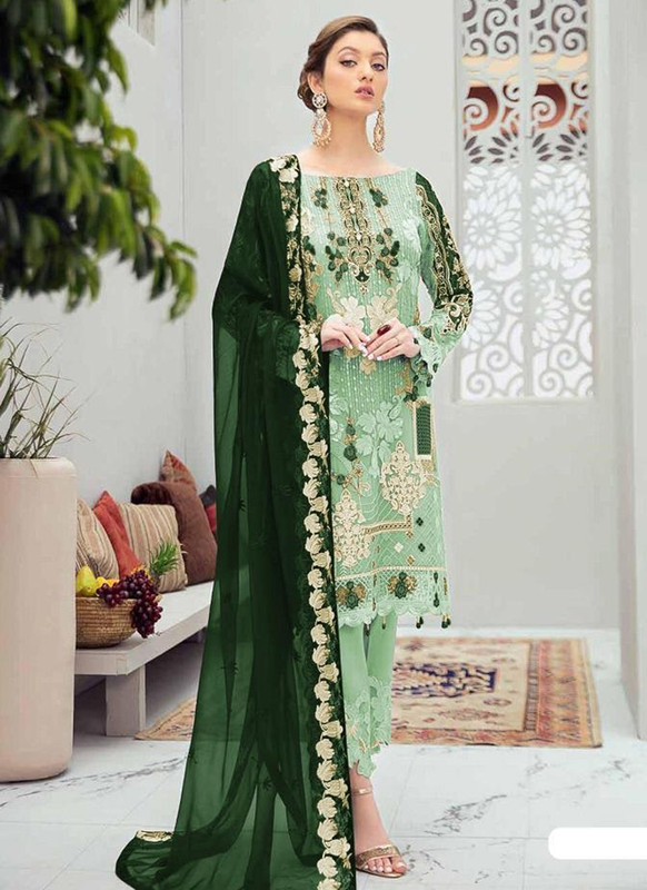 Dial N Fashion Light Green Designer Party Wear Butterfly Net Pakistani Style Salwar Suit
