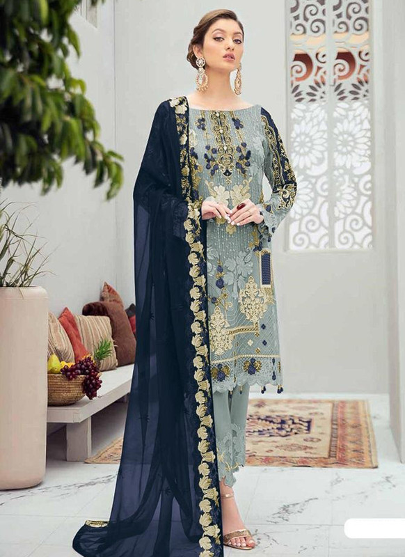 Dial N Fashion Grey Designer Party Wear Butterfly Net Pakistani Style Salwar Suit
