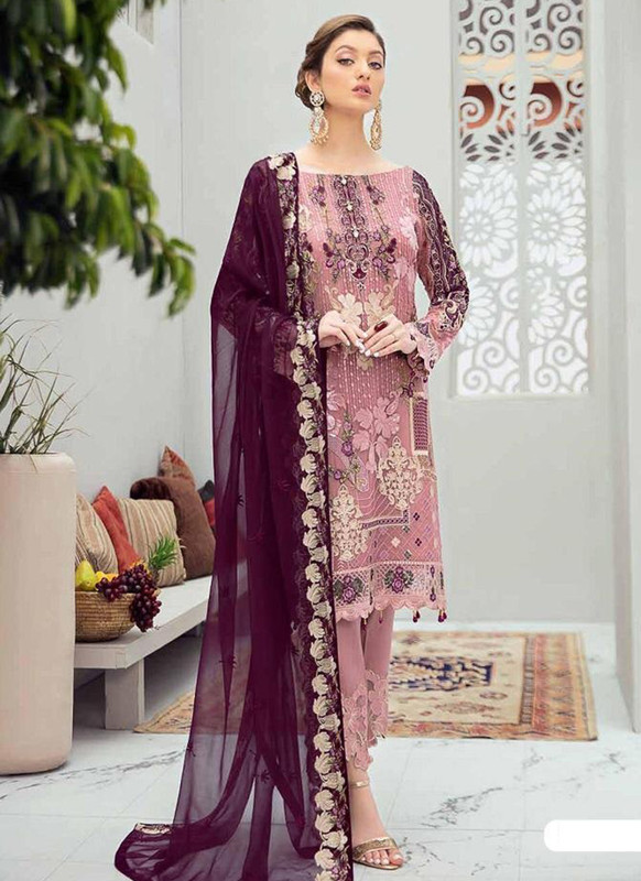 Dial N Fashion Pink Designer Party Wear Butterfly Net Pakistani Style Salwar Suit