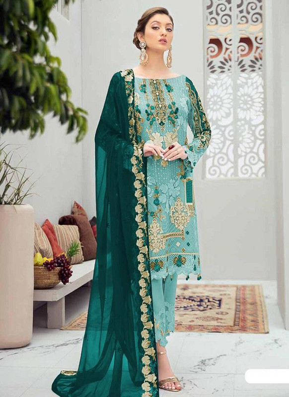 Dial N Fashion Aqua Blue Designer Party Wear Butterfly Net Pakistani Style Salwar Suit