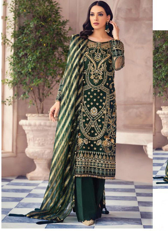 Dial N Fashion Green Latest Designer Butterfly Net Pakistani Style Suit