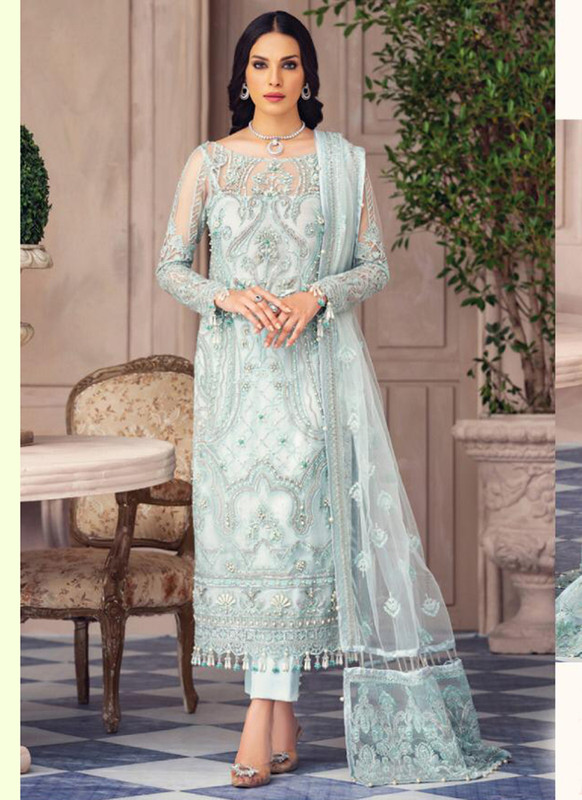 Dial N Fashion Aqua Latest Designer Butterfly Net Pakistani Style Suit