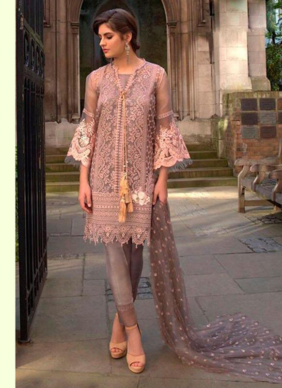 Dial N Fashion Light Mauve Latest Designer Butterfly Net Pakistani Style Suit