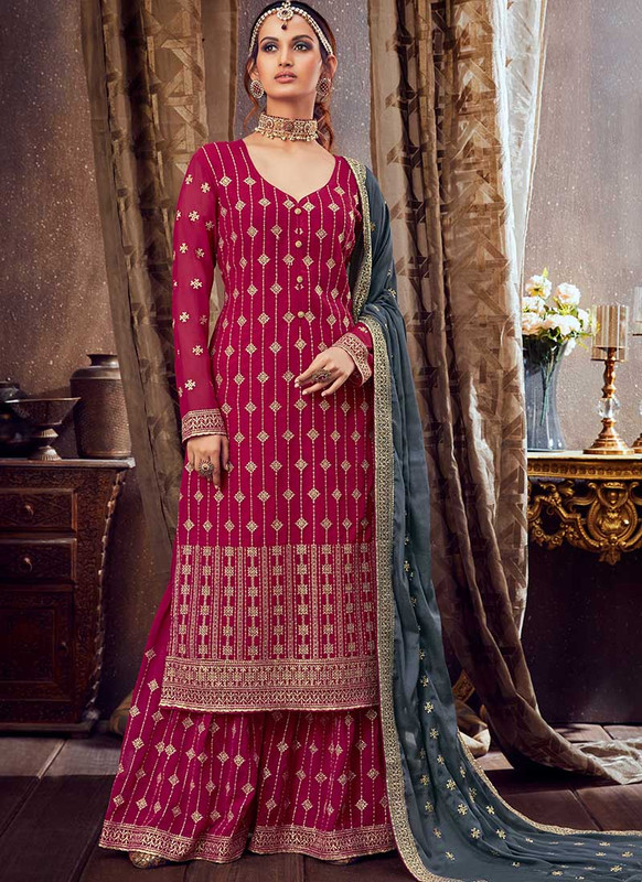 Dial N Fashion Rani Pink Designer Pure Georgette Pakistani Style Sharara Suit
