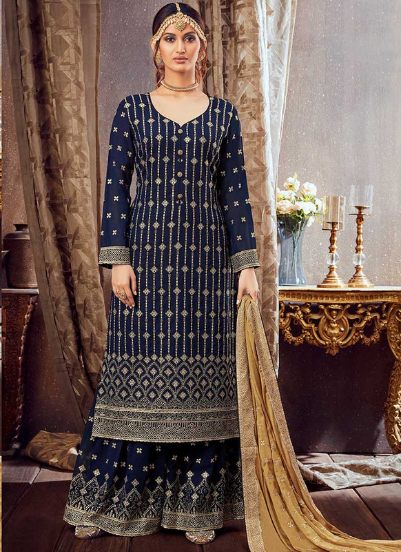 Dial N Fashion Navy Blue Designer Pure Georgette Pakistani Style Sharara Suit