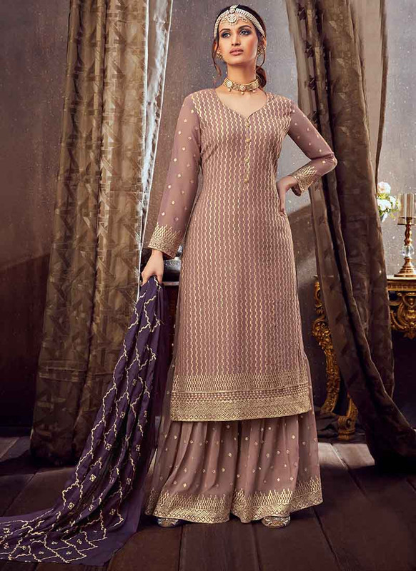 Dial N Fashion Light Borwn Designer Pure Georgette Pakistani Style Sharara Suit