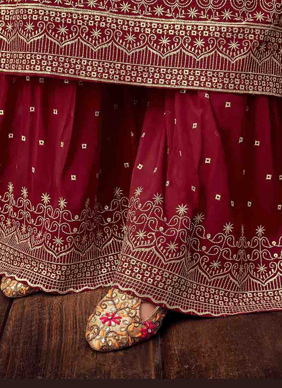 Dial N Fashion Maroon Designer Pure Georgette Pakistani Style Sharara Suit