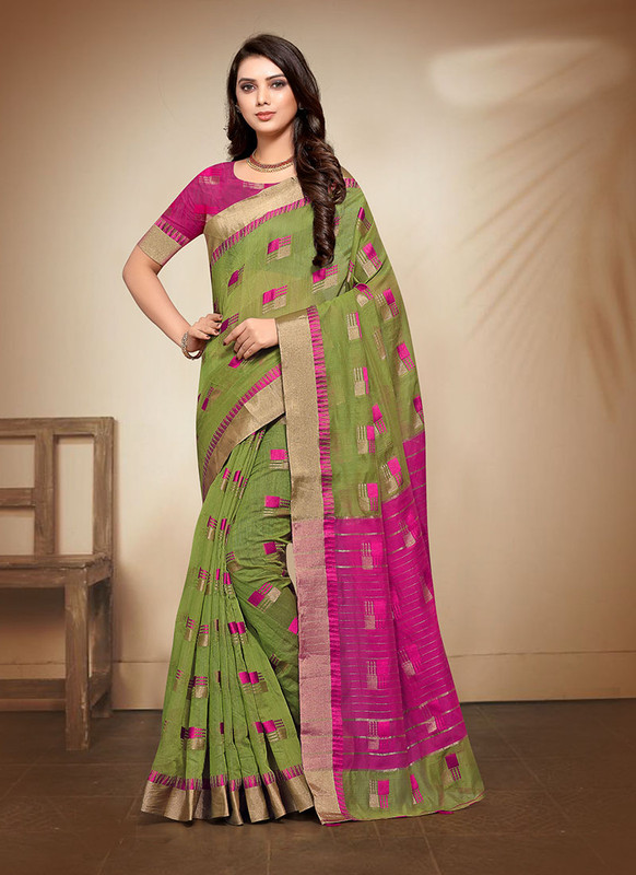 Dial N Fashion Green Designer Casual Wear Banarasi Cotton Saree