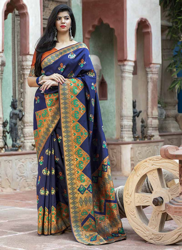 Dial N Fashion Navy Blue Designer Classic Wear Patola Silk Saree