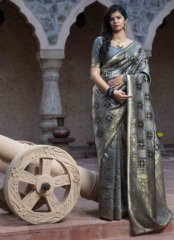 Dial N Fashion Grey Designer Classic Wear Banarasi Silk Saree