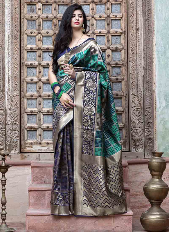 Dial N Fashion Navy Blue Designer Classic Wear Banarasi Silk Saree