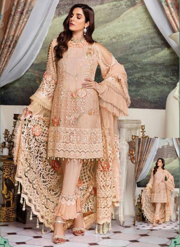 Dial N Fashion Peach Heavy Embroidred Designer Foux Georgette Pakistani Style Suit
