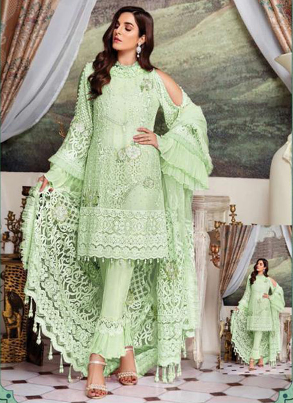 Dial N Fashion Pista Heavy Embroidred Designer Foux Georgette Pakistani Style Suit