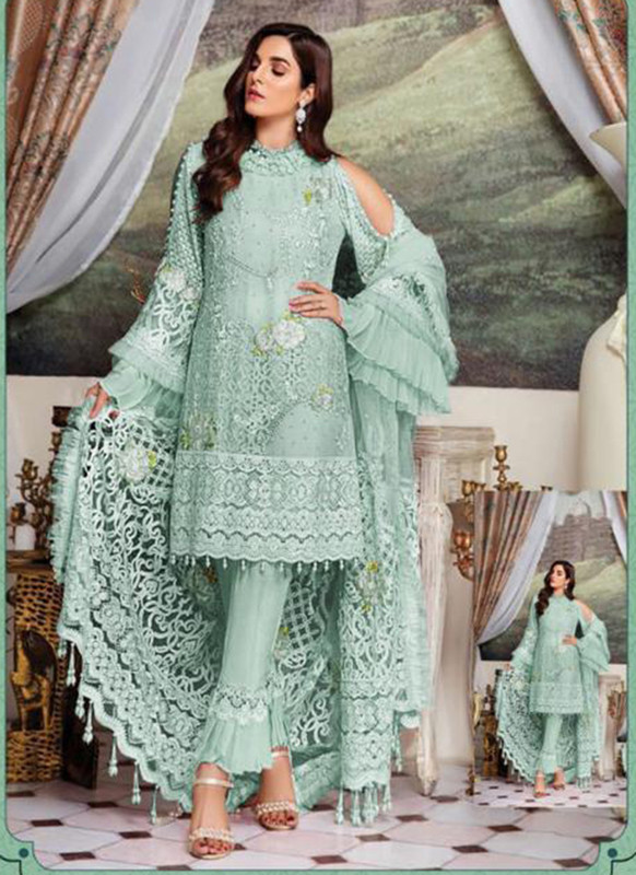 Dial N Fashion Aqua Heavy Embroidred Designer Foux Georgette Pakistani Style Suit
