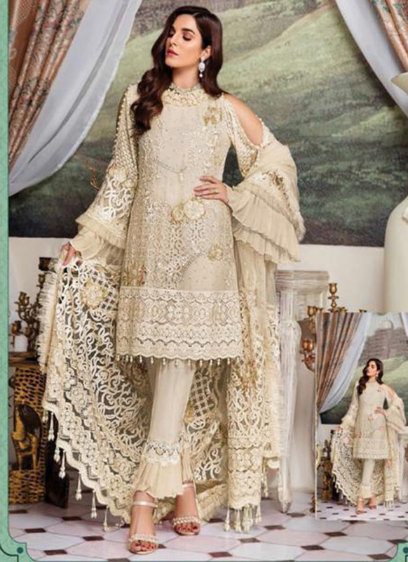 Dial N Fashion Cream Heavy Embroidred Designer Foux Georgette Pakistani Style Suit