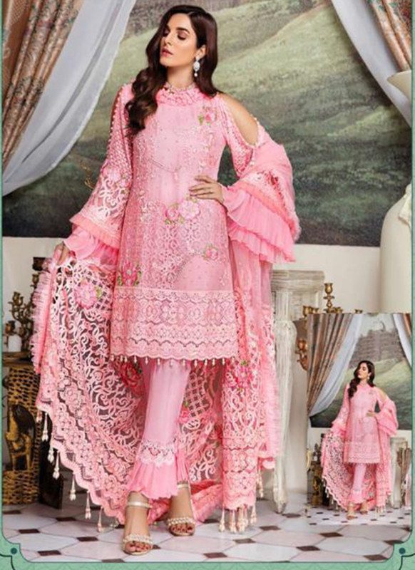 Dial N Fashion Pink Heavy Embroidred Designer Foux Georgette Pakistani Style Suit